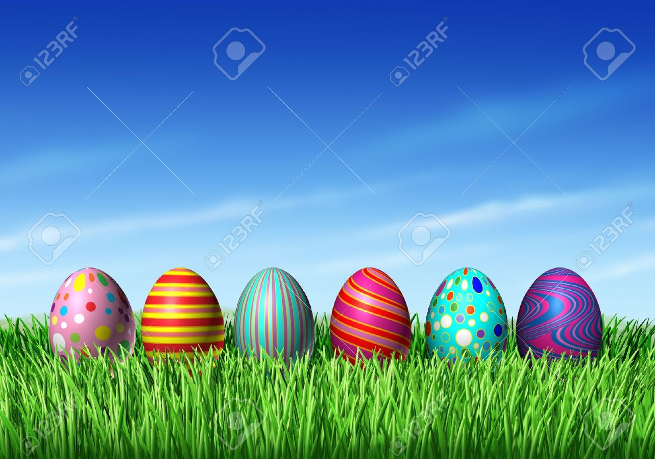 Easter Egg hunt with easter eggs in a row sitting on green grass and blue sky as a symbol of spring and the a holiday decoration and design element of the renewal season. Stock Photo - 12082740