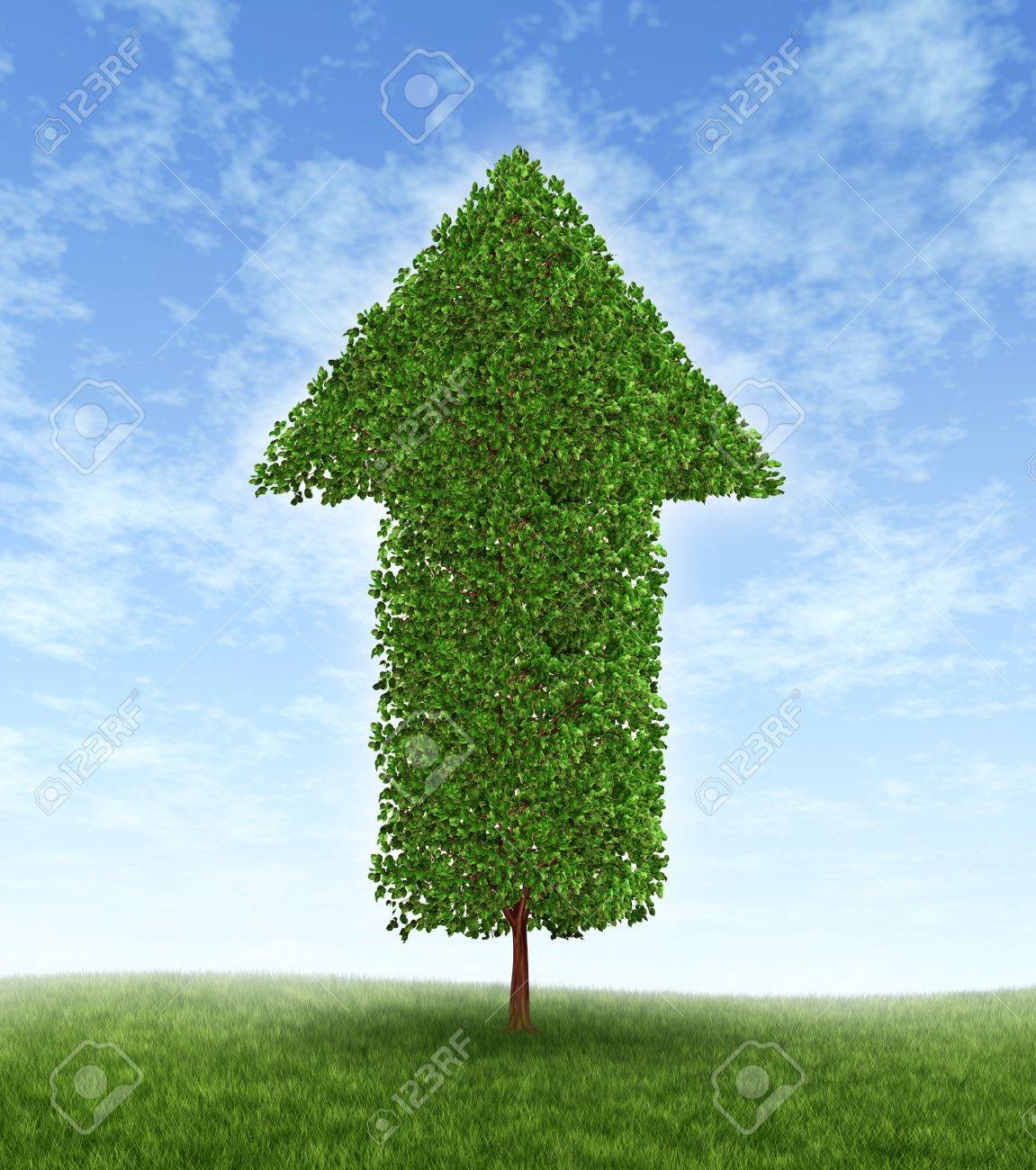 Growth investing and financial business success during economic good times due to compound interest from investments for linear productivity developement with a green tree in the shape of an arrow pointing upwards to the blue sky. Stock Photo - 12082741