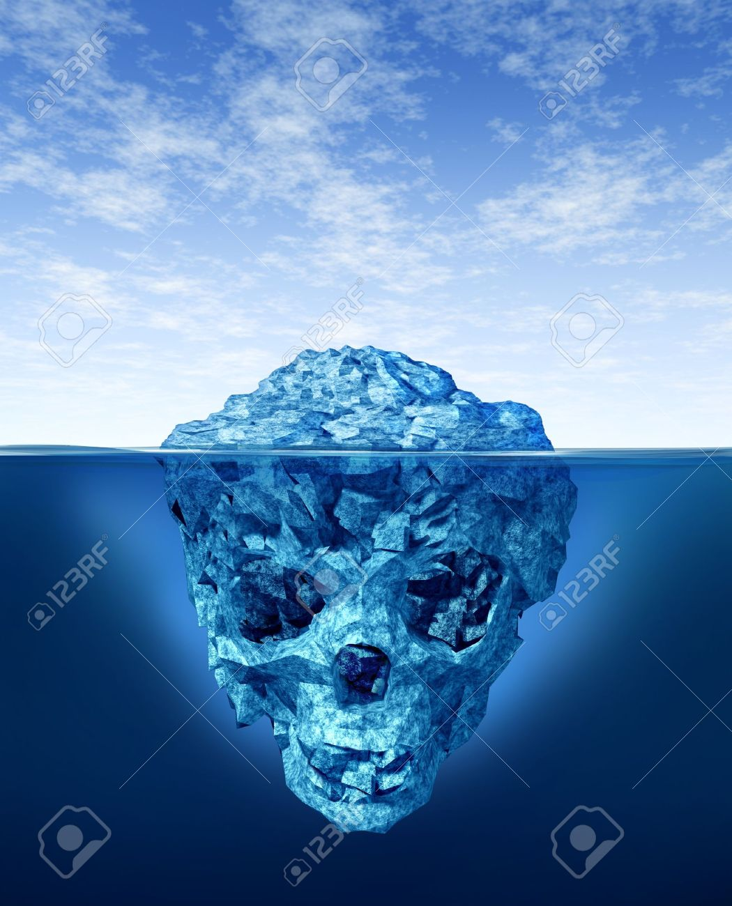 Hidden dangers with a deceptive hazardous iceberg floating in cold arctic ocean water with a small part of the frozen ice mountain above the sea and the hidden bottom part in the shape of a death human skull skeleton. Stock Photo - 12082739