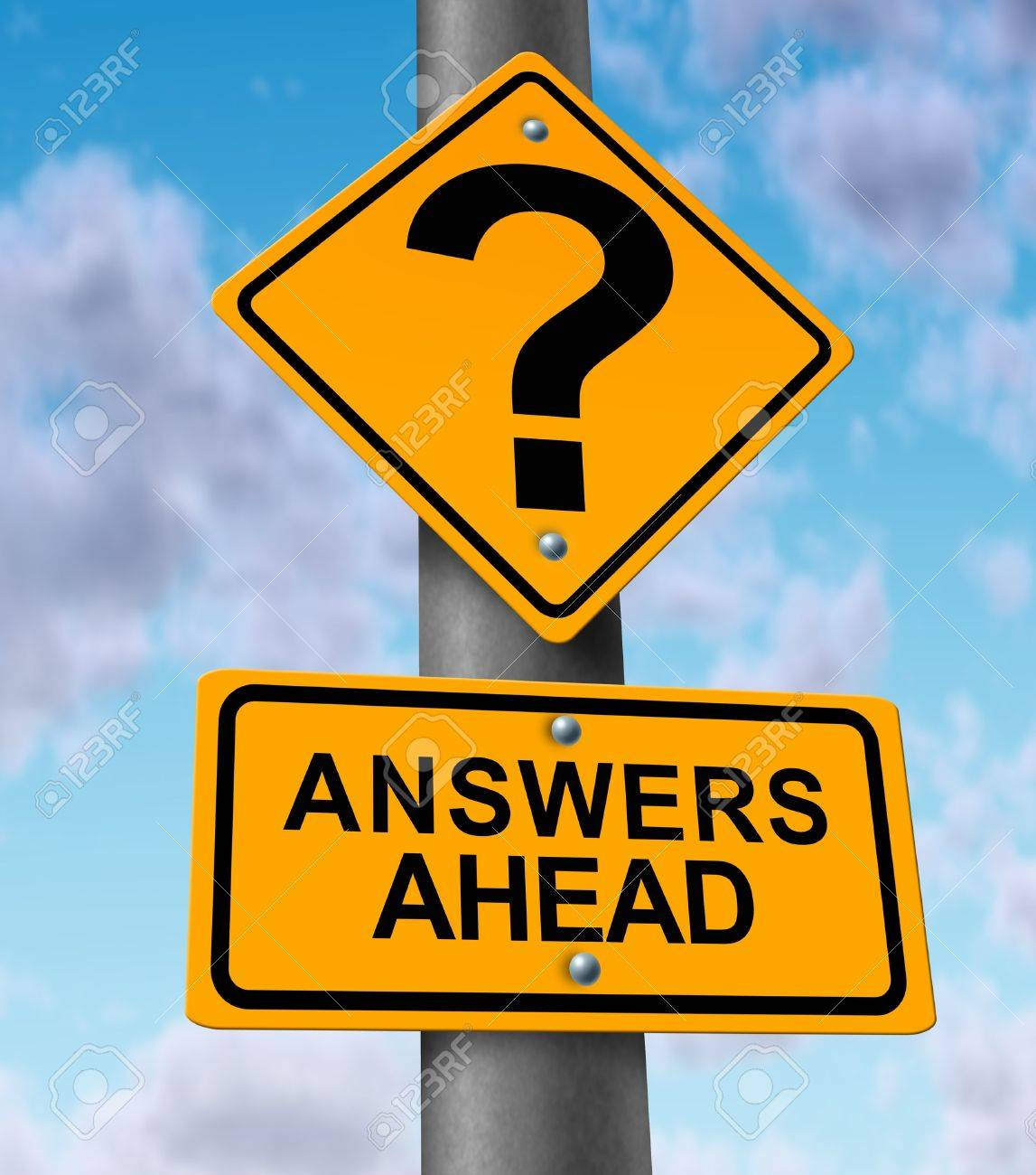 answers business stock photos images royalty answers answers business answers ahead yellow road sign on a highway metal pole announcing solutions to