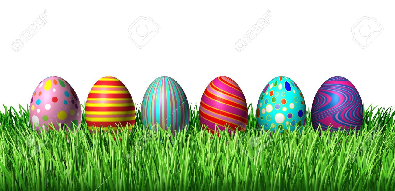 Decorated Easter Egg hunt with painted easter eggs in a row sitting on green grass on a whiote background as a symbol of spring and a holiday decoration and design element of the renewal season. Stock Photo - 12082768