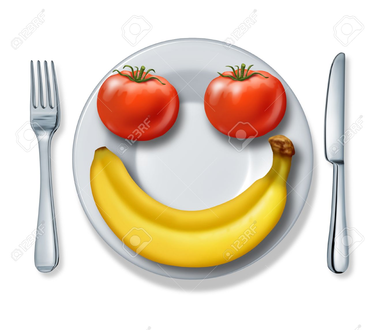 Eating and health - Healthy Eating And Health Diet With A Dinner Plate Fork And Knife And Tomatoes And A