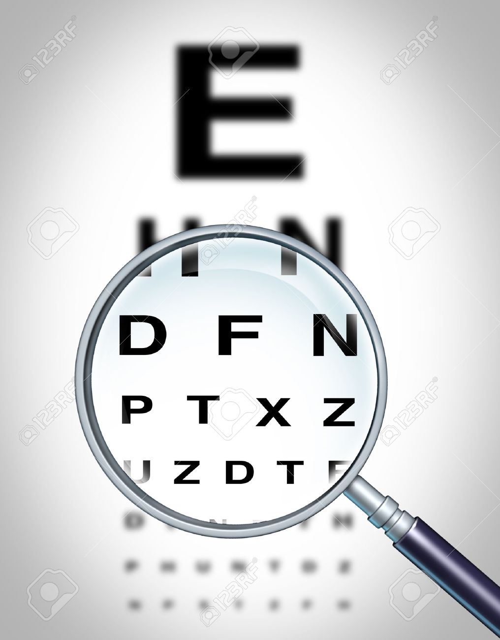 Human eye vision chart and sight medical optometrist symbol for the Ophthalmology department in ahospital with a magnigying glass focusing on the blurred diagram. Stock Photo - 12354004