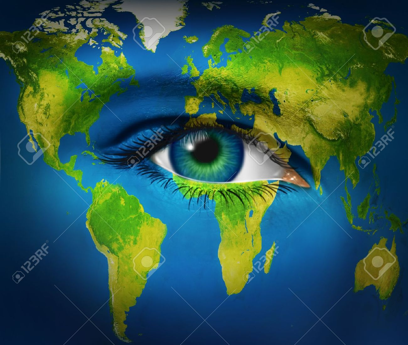 Human eye earth planet  as world vision for the future  and global insight into international business and politics through communications and internet network connections as united nations of  people from all countries as one humanity. Stock Photo - 12353884
