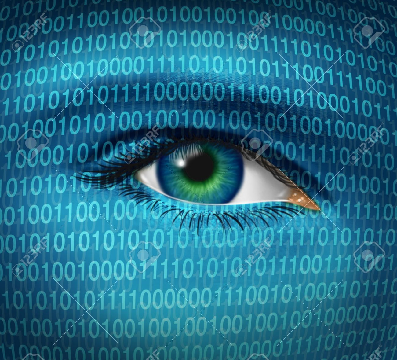 Internet security and privacy issues with a human eye and digital binary code representing surveillance of hackers or hacking from cyber criminals  watching prohibited access to web sites with firewalls. Stock Photo - 12353882
