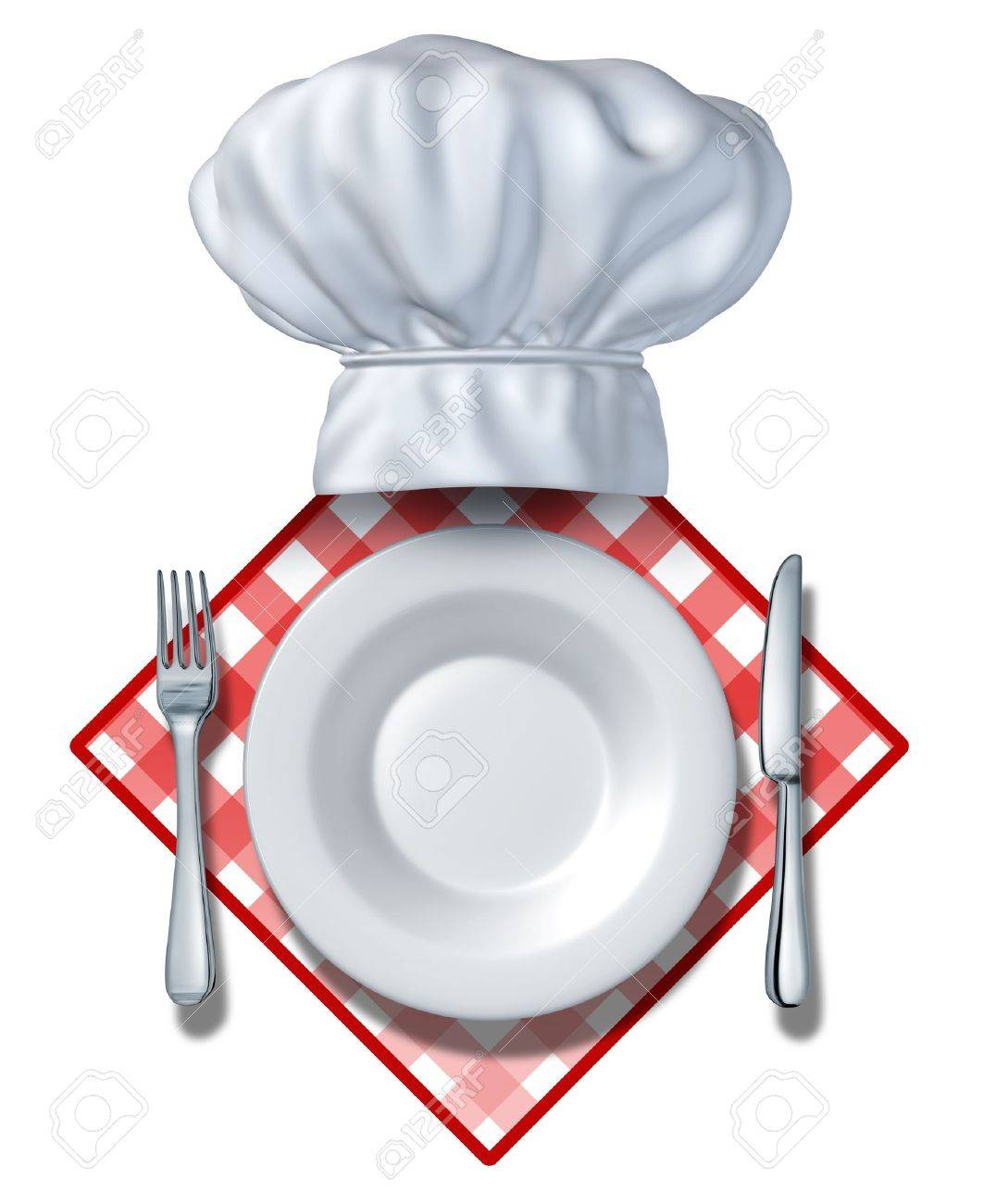 Restaurant design element with a plate and chef hat and fork with  knife on a blank area for your text and white background on a table cloth for dinners and cooking food vendors or cafeterias and caterers who serve and cater to hungry clients. Stock Photo - 12353871