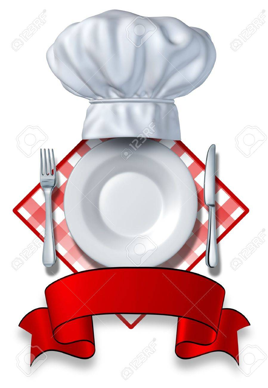 Restaurant Design With a Plate and Hat and fork and knife with a blank area for your text on a white background on a table cloth for dinners and food vendors or cafeterias and caterers who cater to hungry clients. Stock Photo - 12353872
