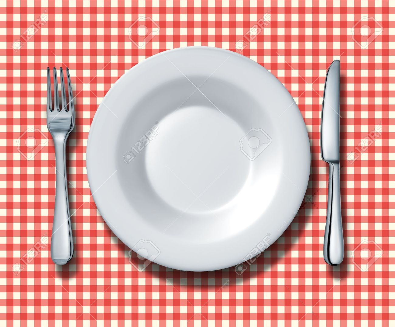 Place Setting For A Family Restaurant With A Red And White Checkered Table  Cloth With A