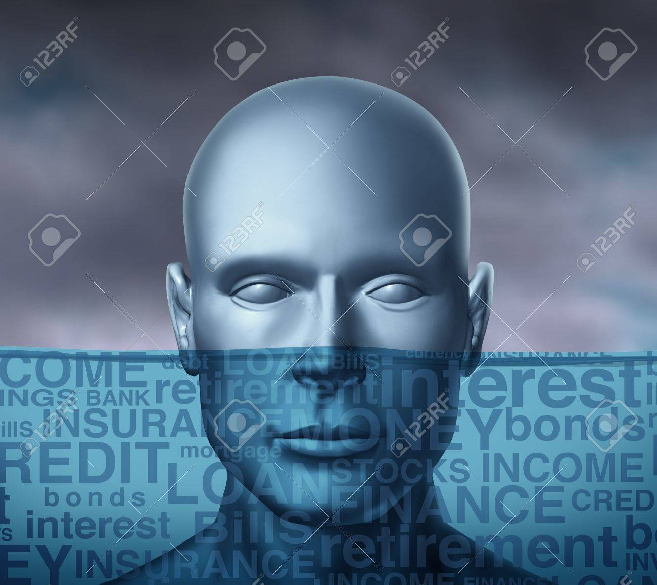 Financial problems drowning in debt and trying to keep your head above water with storm clouds as a human head sinking with different finance terms like insurance and bills or credit and money with other investment  text. Stock Photo - 12353987