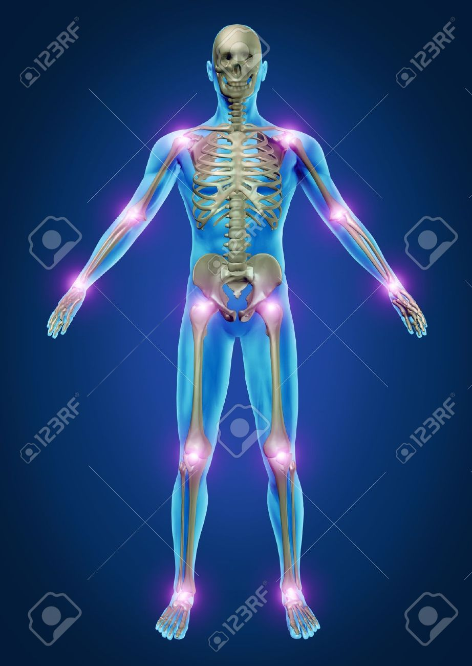 Human Painful Joints With The Skeleton Anatomy Of The Body With