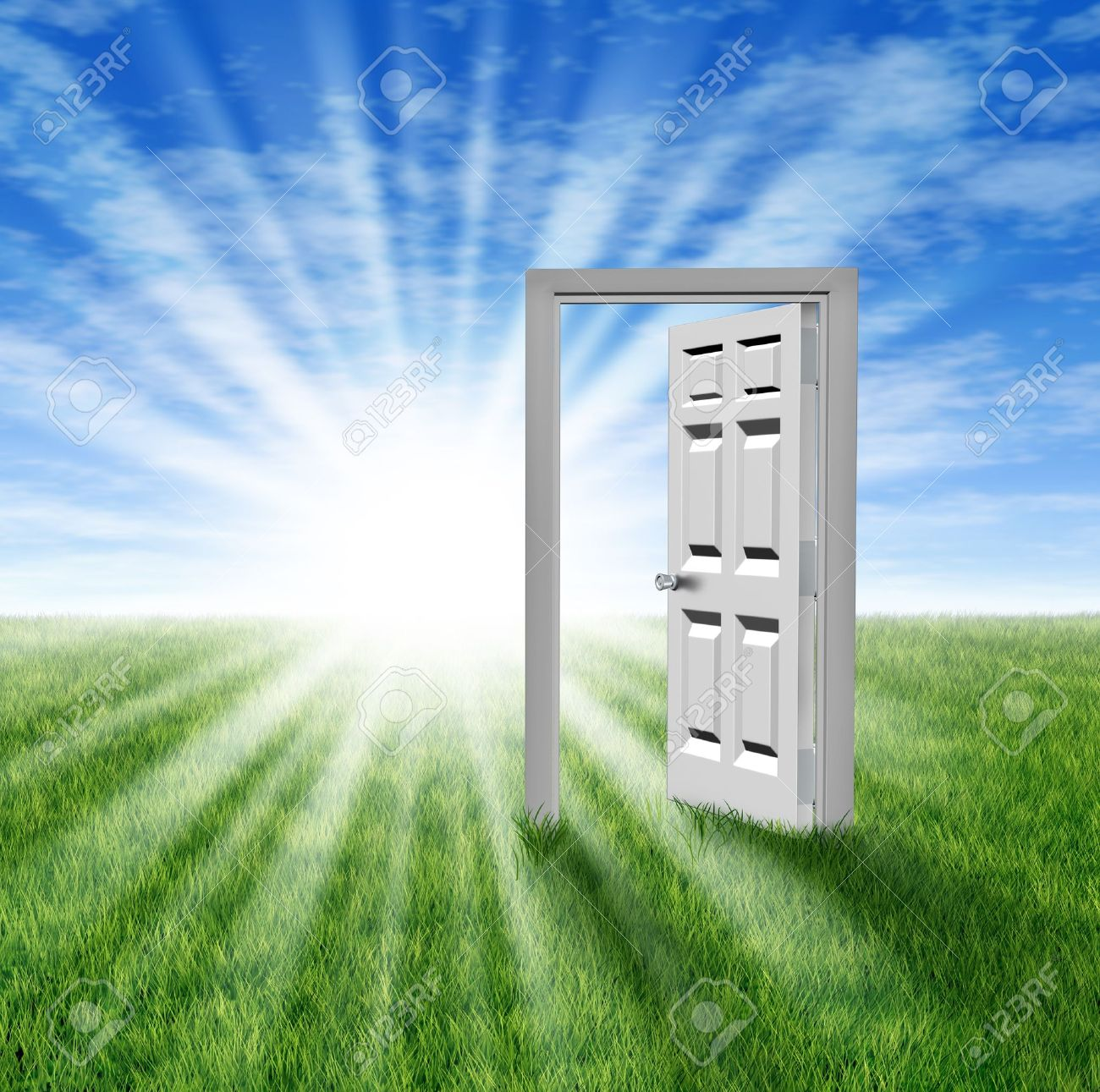 Goals and aspirations as a door to opportunity with a grass field  and an open doorway entrance to success and freedom showing a glowing light of hope and prosperity for the future or an icon for retirement planning. Stock Photo - 12353906