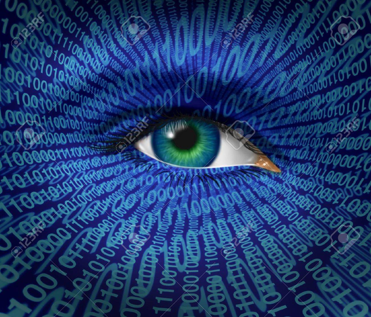 Technology security and Internet safety and privacy issues with a human eye and digital binary code as surveillance of hackers or hacking from cyber criminals watching prohibited private access to web sites with firewalls. Stock Photo - 12353905