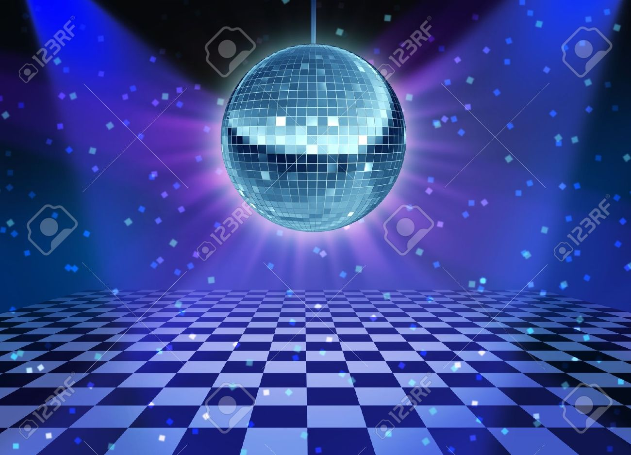 Dance floor disco night with a mirror ball symbol of fun and dancing party in a nightclub or dance club with glowing stage lights and wall reflexions and checkered floor Stock Photo - 12353921