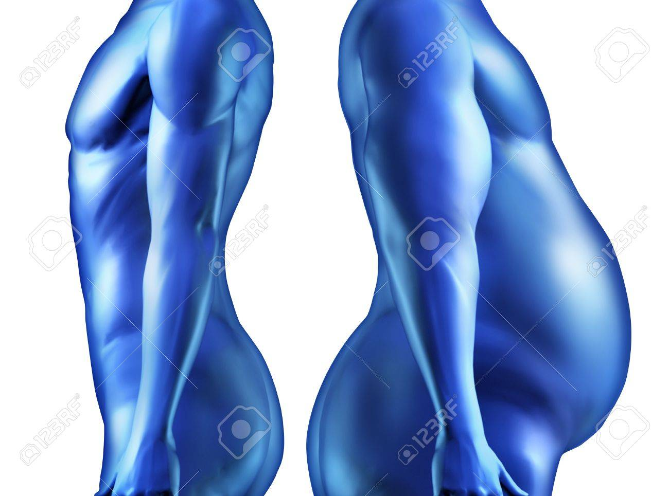 Dieting weightloss and the human body with a healthy fit person and a fat obese overwieght individual side by side as a comparison of body shape as physical wellbeing and health in regards to fitness of anatomy Stock Photo - 12353916