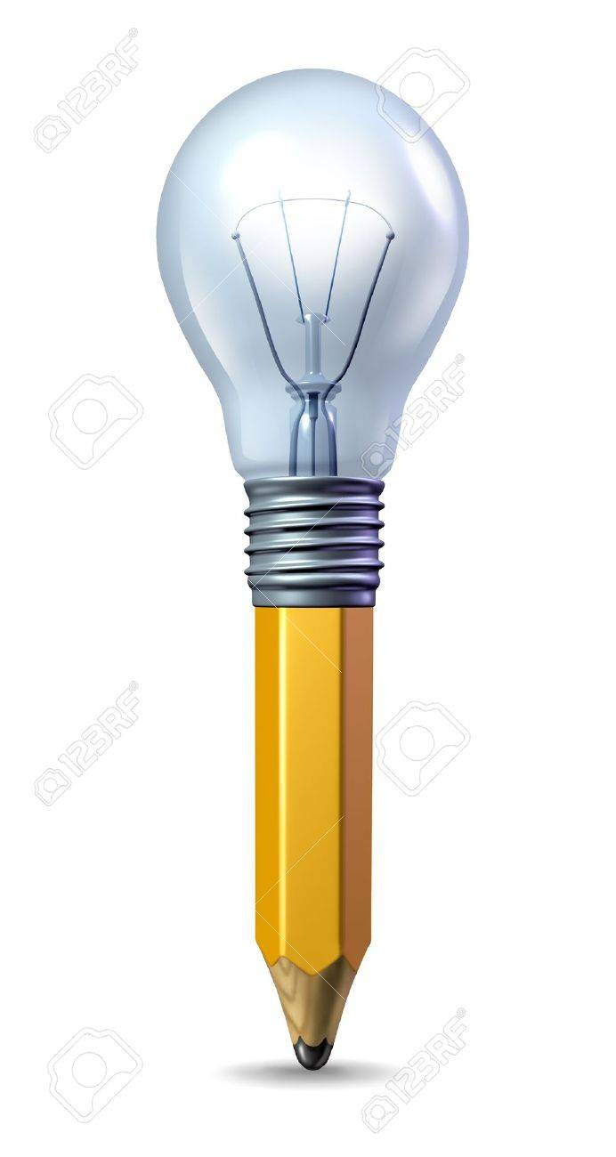 Icon with a pencil and a light bulb married together as a symbol of creativity and innovation Stock Photo - 12667209