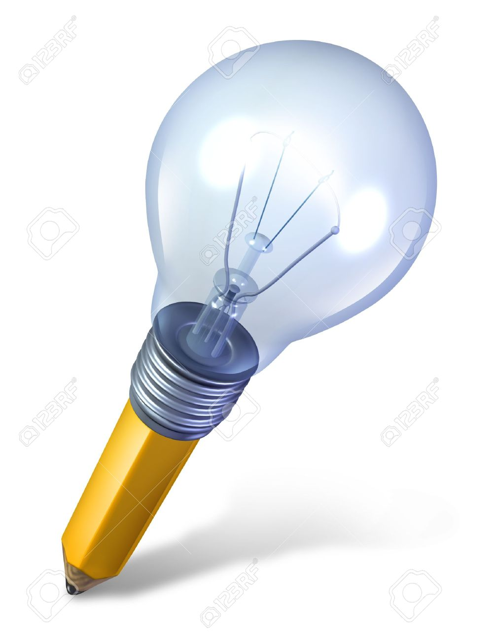 Creative tool and ideas icon with an angled pencil and a lightbulb fused together as a symbol of creativity and innovation Stock Photo - 12667459