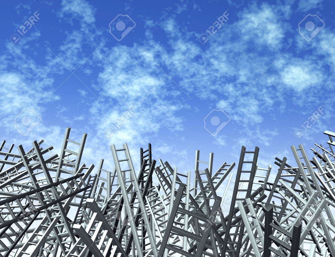 Ladders in disoriented directions as a business and financial icon of uncertainty and obstacles Stock Photo - 12667498
