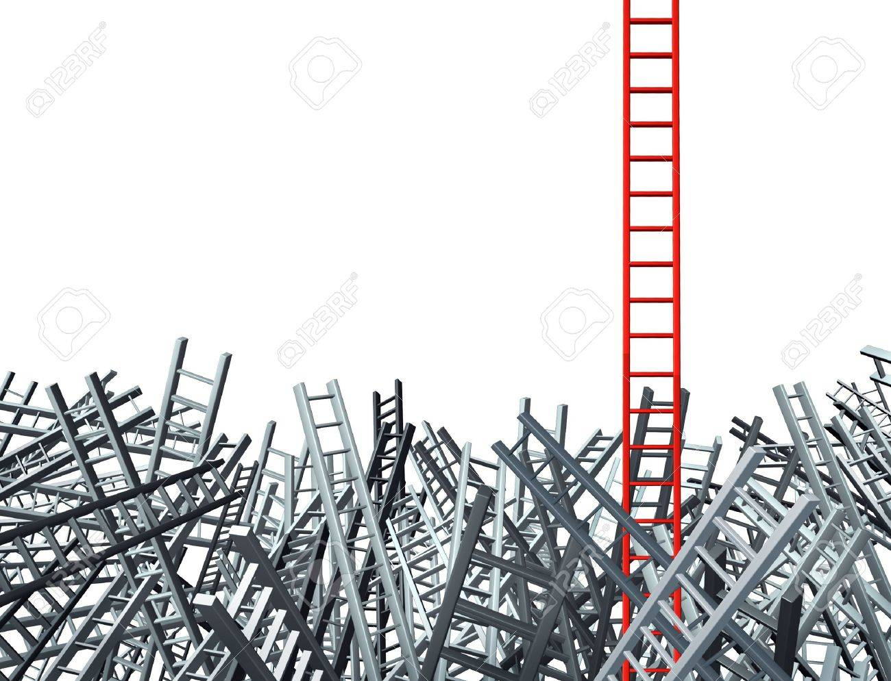 ladder standing out from a group of confused as grey ladders in disoriented directions Stock Photo - 12667430