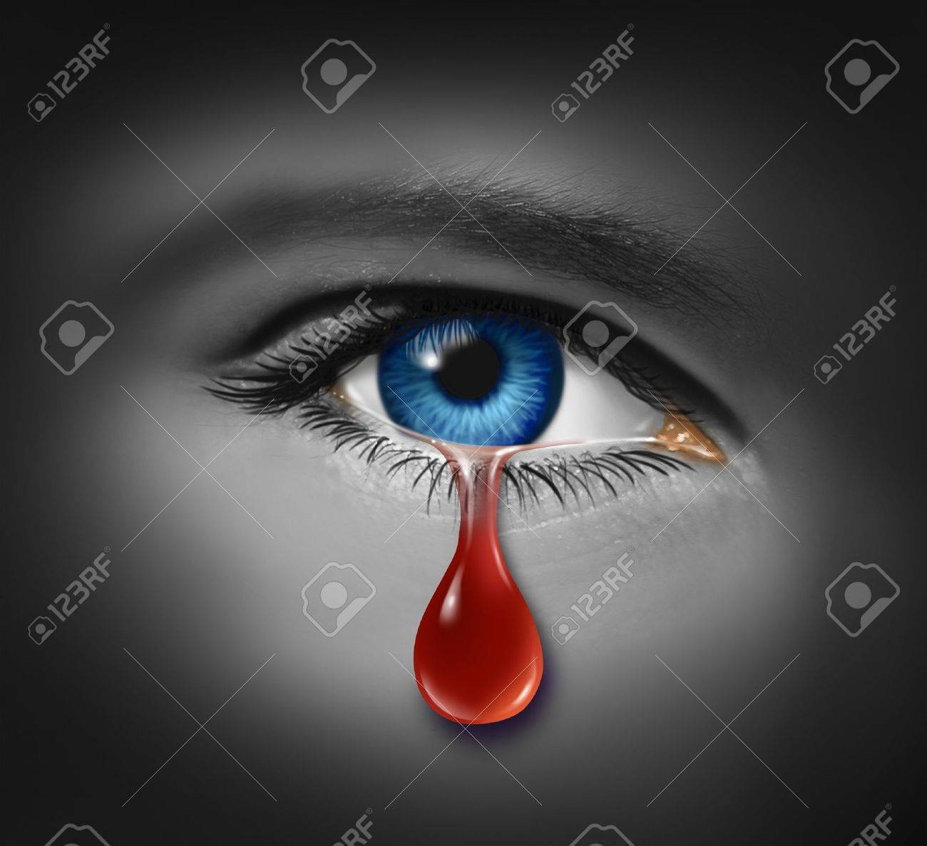 Violent crime concept with a close up of an eye ball crying with a tear of blood Stock Photo - 12667493