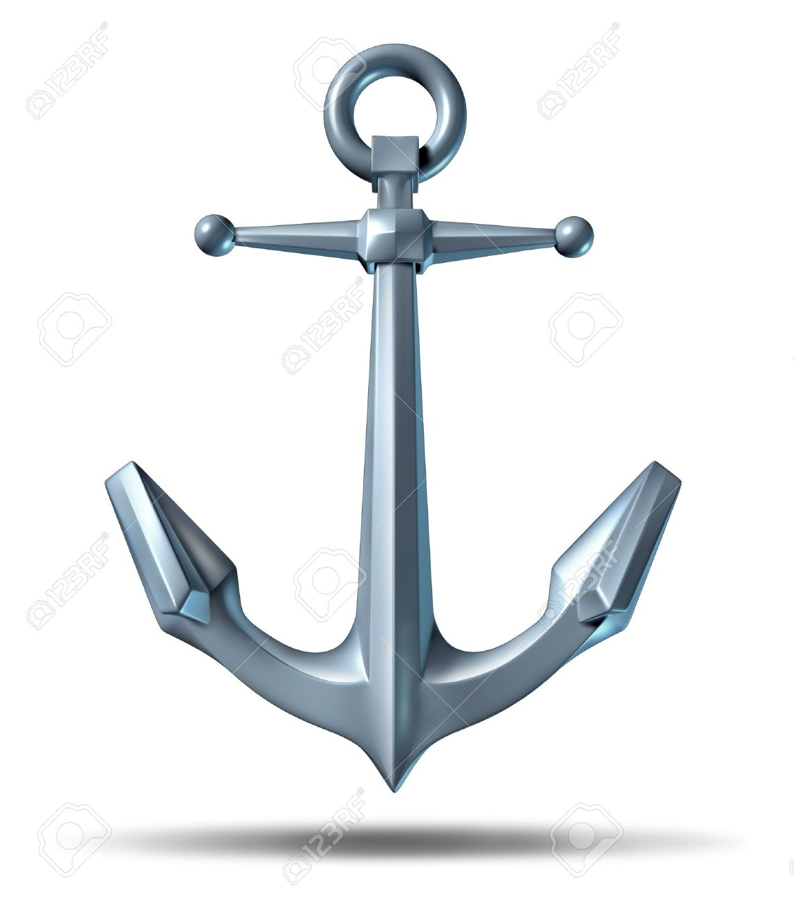 Anchor on a white background with a metal heavy nautical structure as a marine icon representing strength reliability and stability Stock Photo - 12667574
