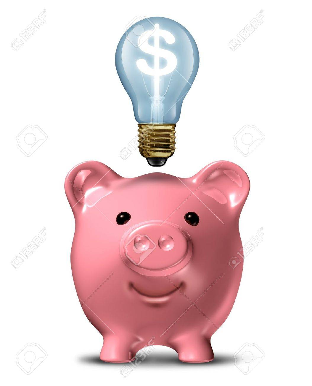 Pink piggy bank with an idea light bulb with a dollar sign shinning bright on a white background Stock Photo - 12667595
