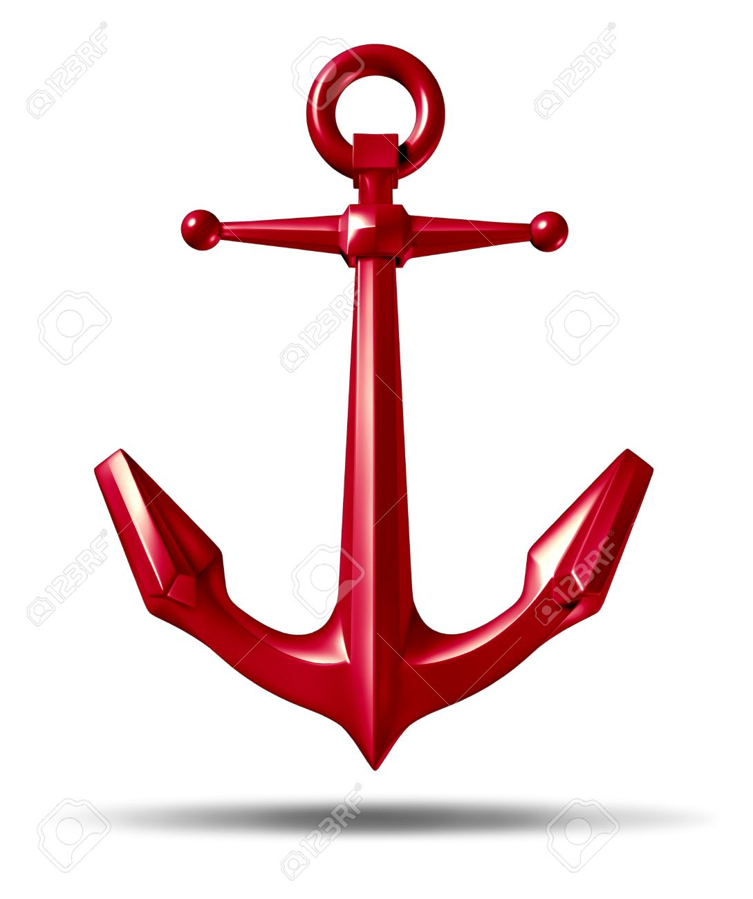 Red anchor on a white background Stock Photo - 12668080
