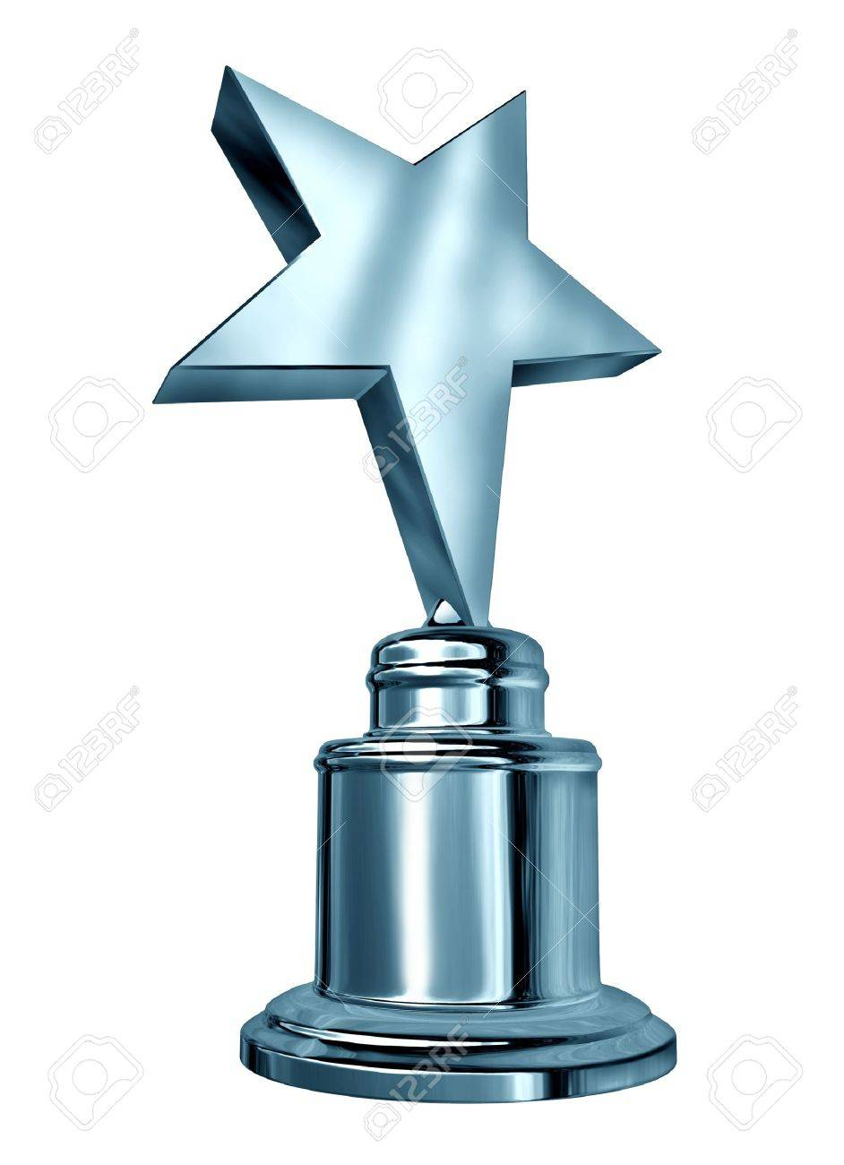 Silver star award on a blank metal trophy isolated on white Stock Photo - 12668100