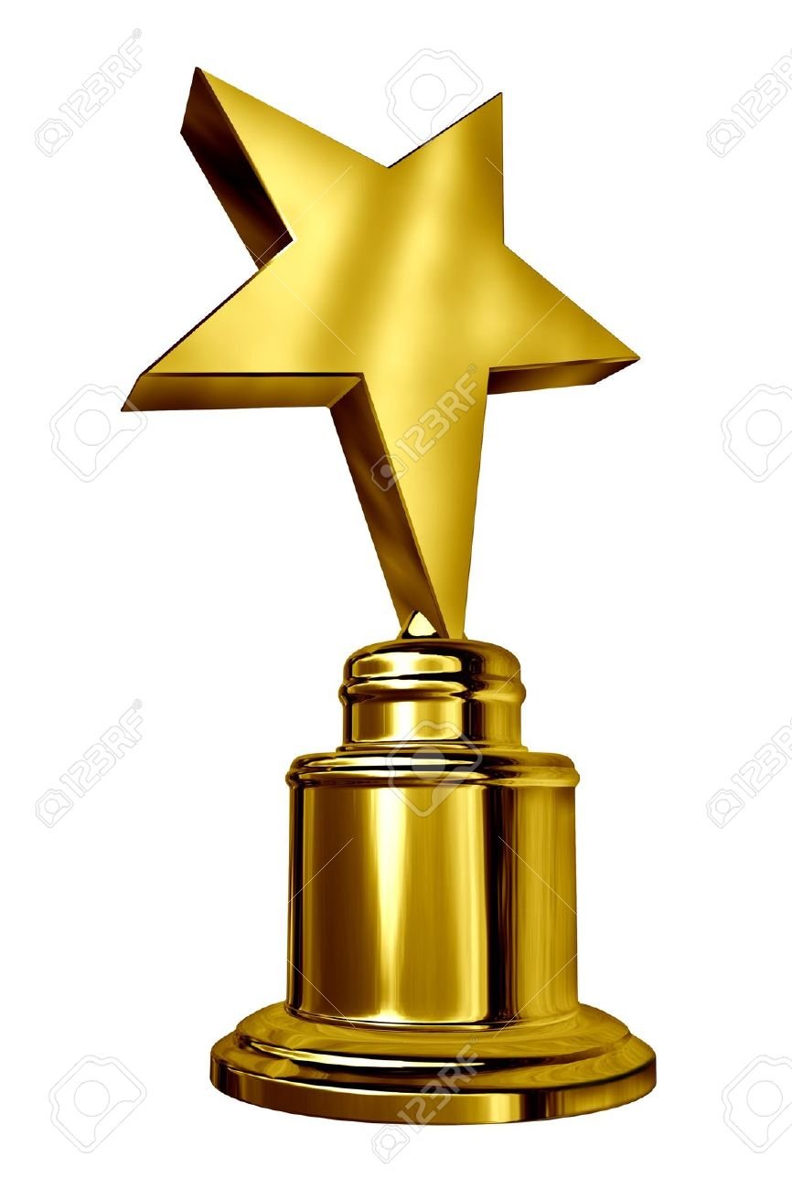 Gold Star Award On A Blank Metal Trophy Isolated White Stock Photo