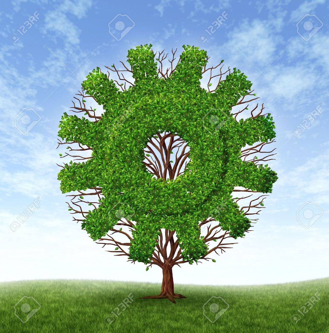 Growing business concept with a tree and branches with leaves in the shape of a machine gear or cog as an industrial symbol of financial success through investment and leadership on a blue sky Stock Photo - 12882225