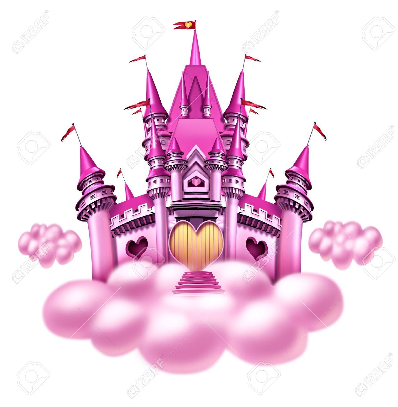Fantasy princess cloud castle with a fun pink magical kingdom floating on a fluffy cloud as a girls toy dream or dreaming of a fairy tale of nobility with heart shapes and magic elegance Stock Photo - 12882211