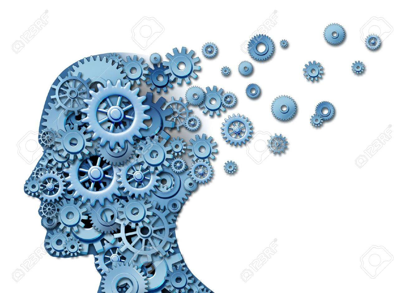 Brain loss and losing memory and intelligence due to neurological trauma and head injury or alzheimers disease caused by aging with gears and cogs in the shape of a human face showing cognitive loss and thinking function - 12882373