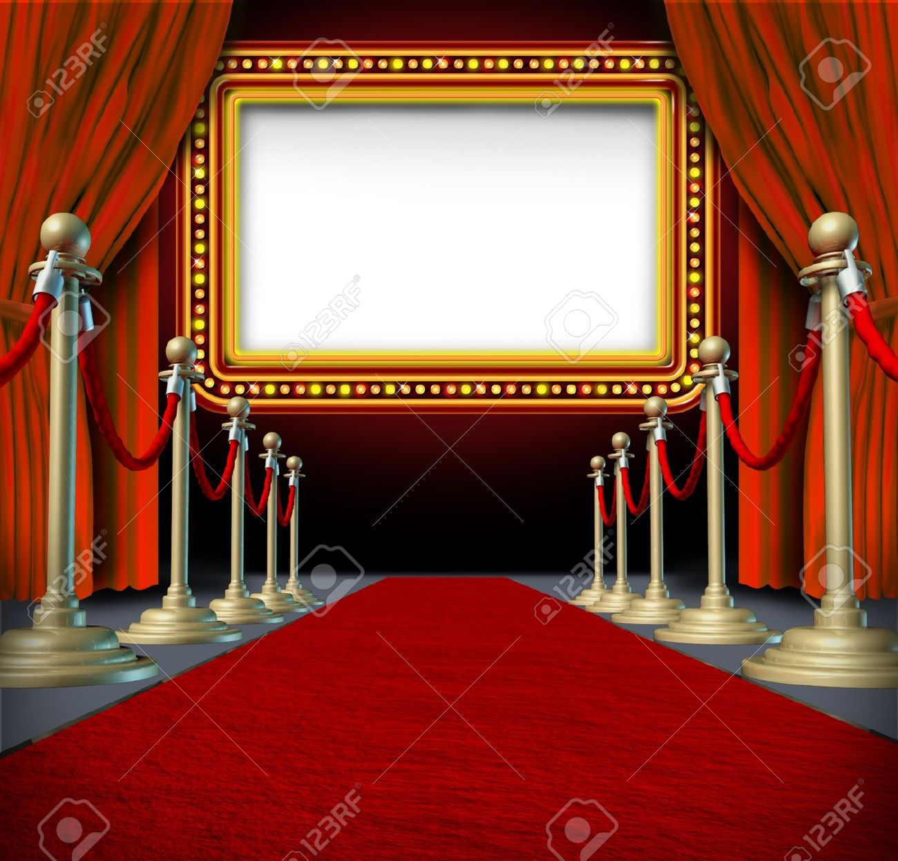 Empty stage curtains with lights - Movie And Theatre Marquee Blank Sign With Elegant Velvet Curtains And A Red Carpet With Gold