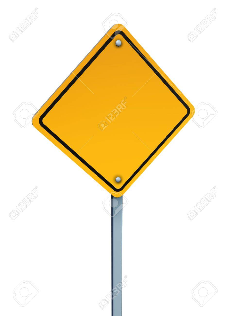 Blank yellow warning sign with Blank Danger Sign