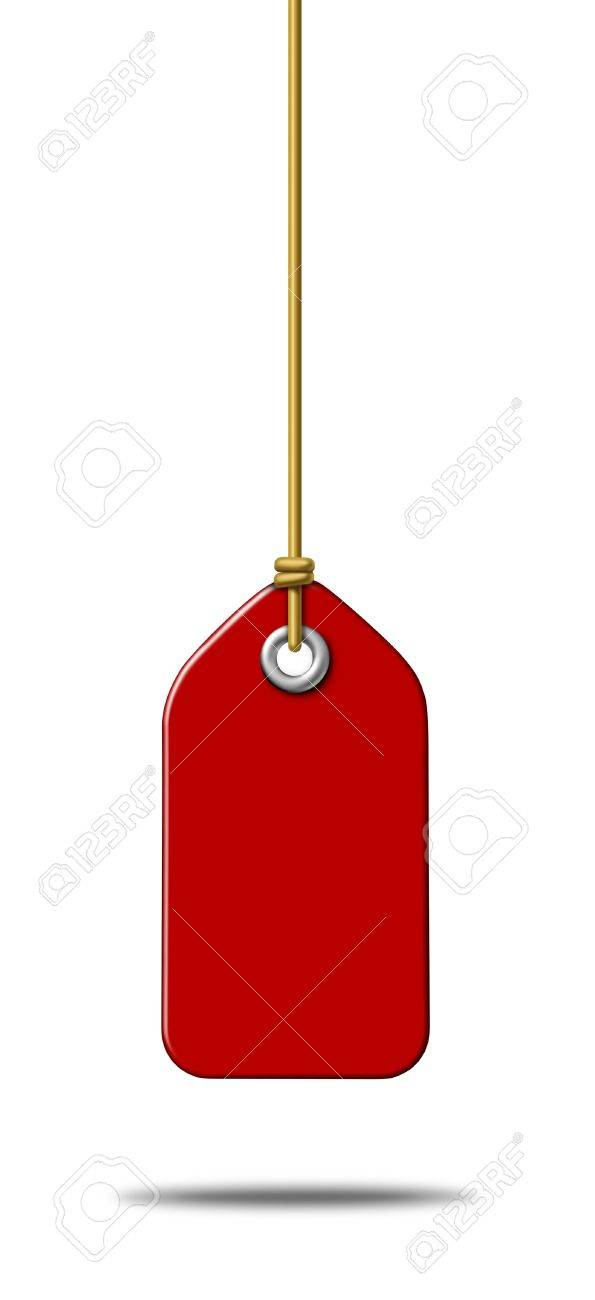 Blank red price tag label with a hanging string tied to the paper as a commercial symbol of marketing and advertising a sale or discount on merchandise or services that are on special in a liquidation at a store Stock Photo - 13070411