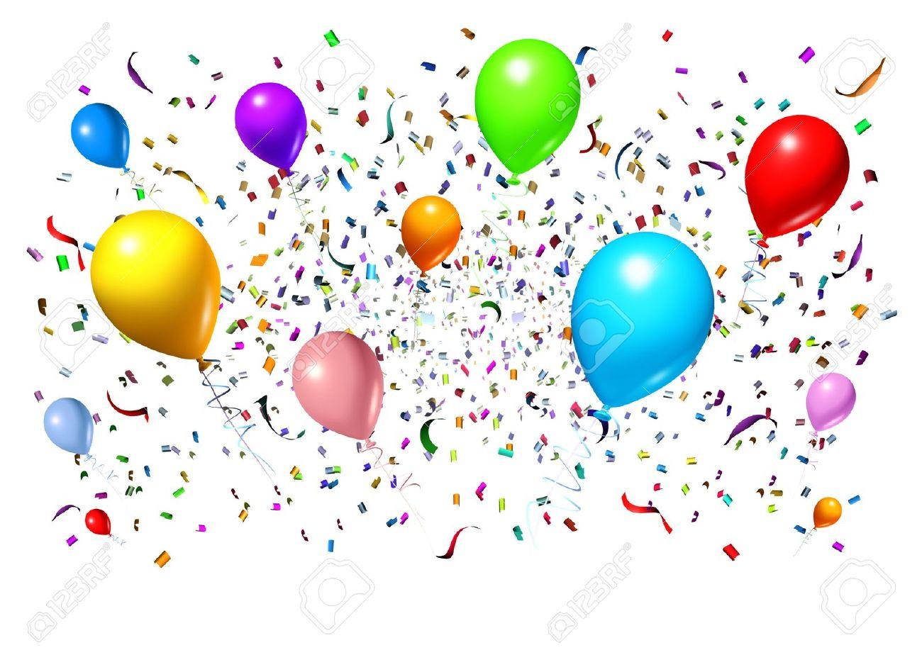La Celebración Y El Diseño De Fiesta Con Globos De Fiesta Flotan Con  Confeti Y Serpentinas Como Un Símbolo De Diversión Una Celebración De  Cumpleaños O ... eb9c98b9f4d