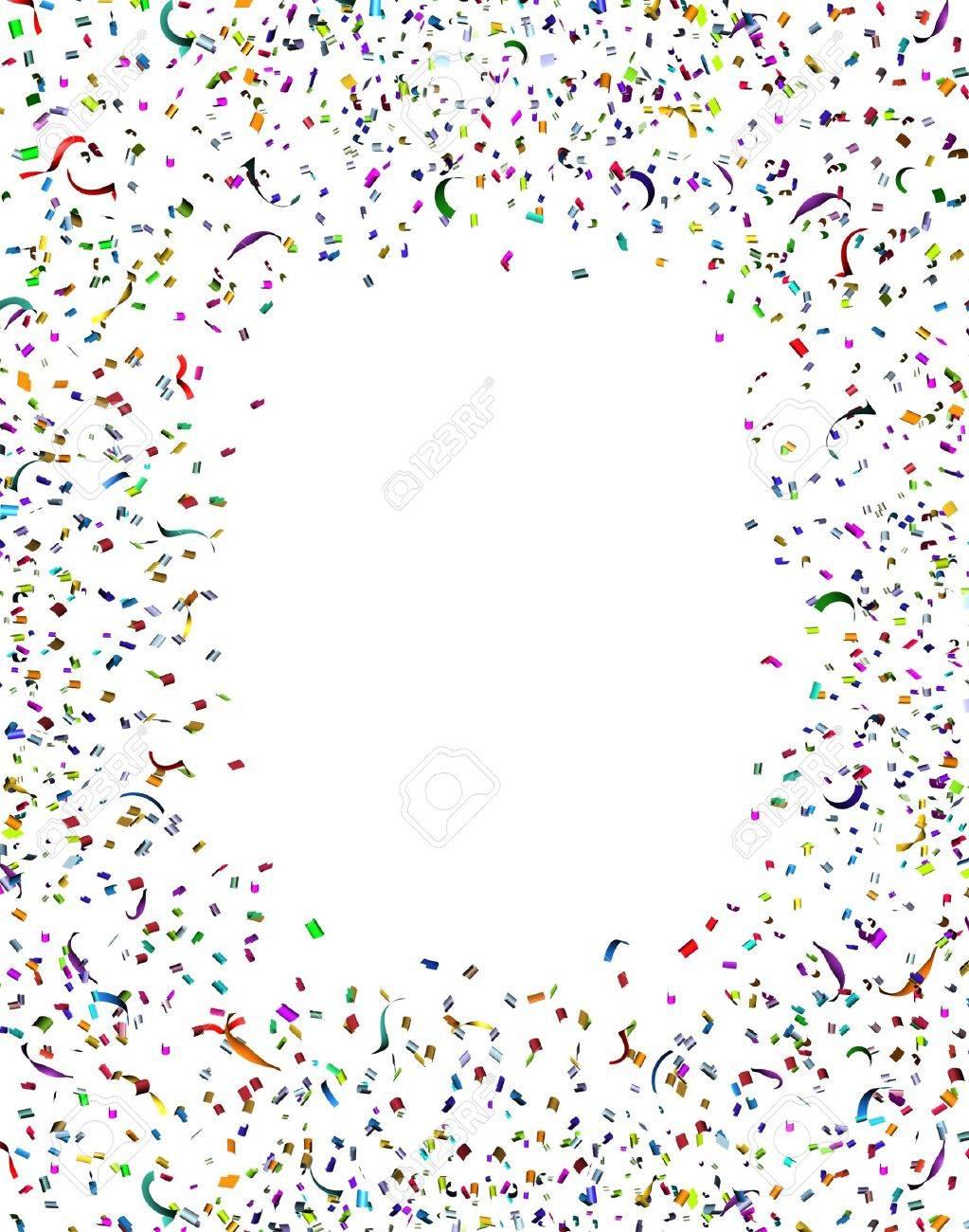 Celebración Y Fiesta De Confeti Y Serpentinas Marco En El Aire Como ...