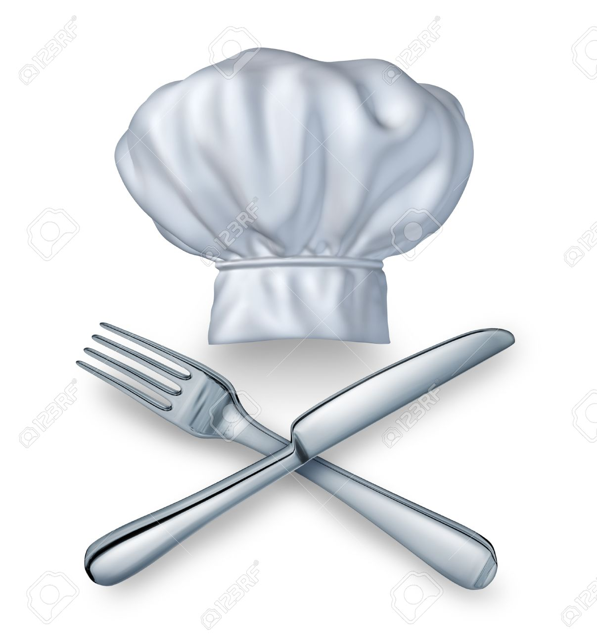 Chef Hat With A Knife And Fork Silverwear As A Food And Drink