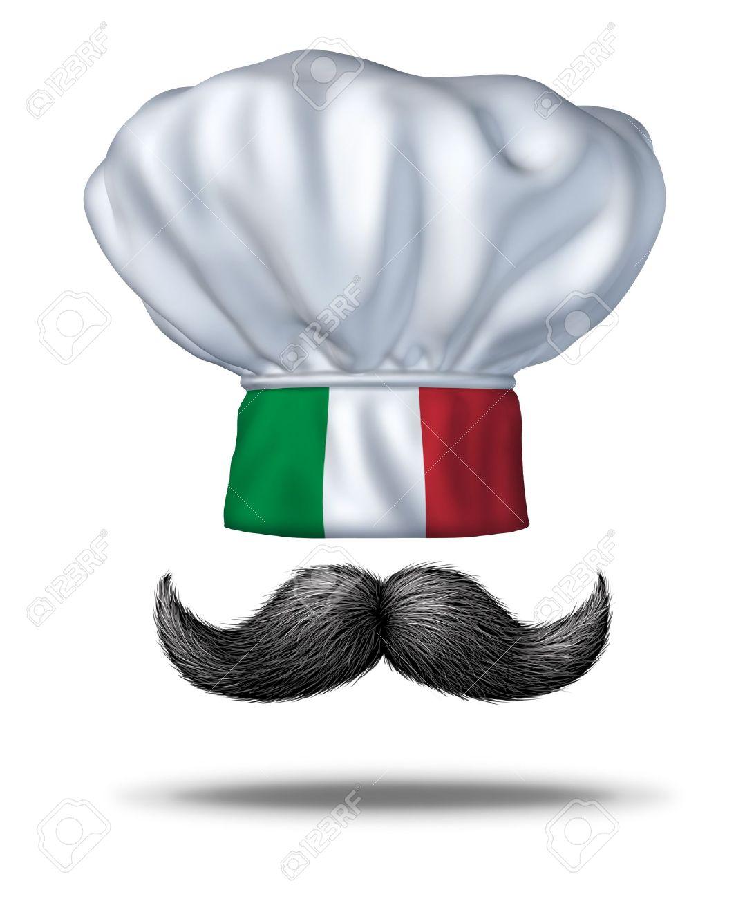 La cocina italiana y la comida de Italia con un sombrero de chef con la bandera verde blanco y rojo y un tradicional manillar espeso bigote negro como símbolo de la rica cultura culinaria de los italianos y la cocina que cocinar en casa de mamas o en un restaurante Foto de archivo - 13070399