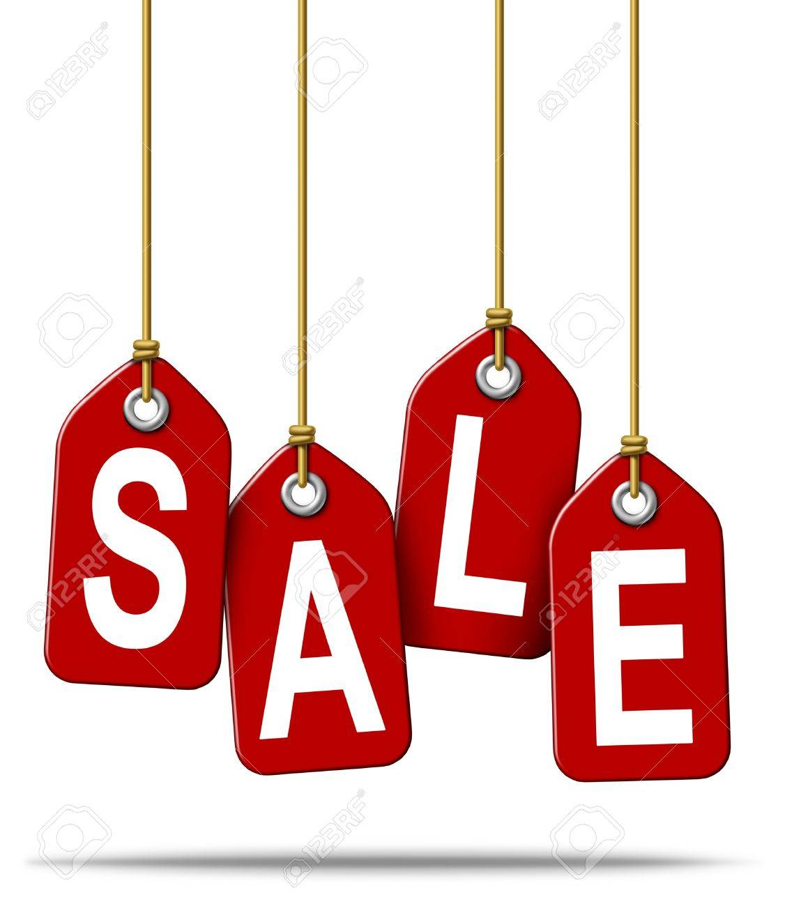 Price tag with the text sale as a red label with hanging strings tied to the paper commercial symbols of marketing and advertising discount on merchandise or services that are on special on white Stock Photo - 13070394