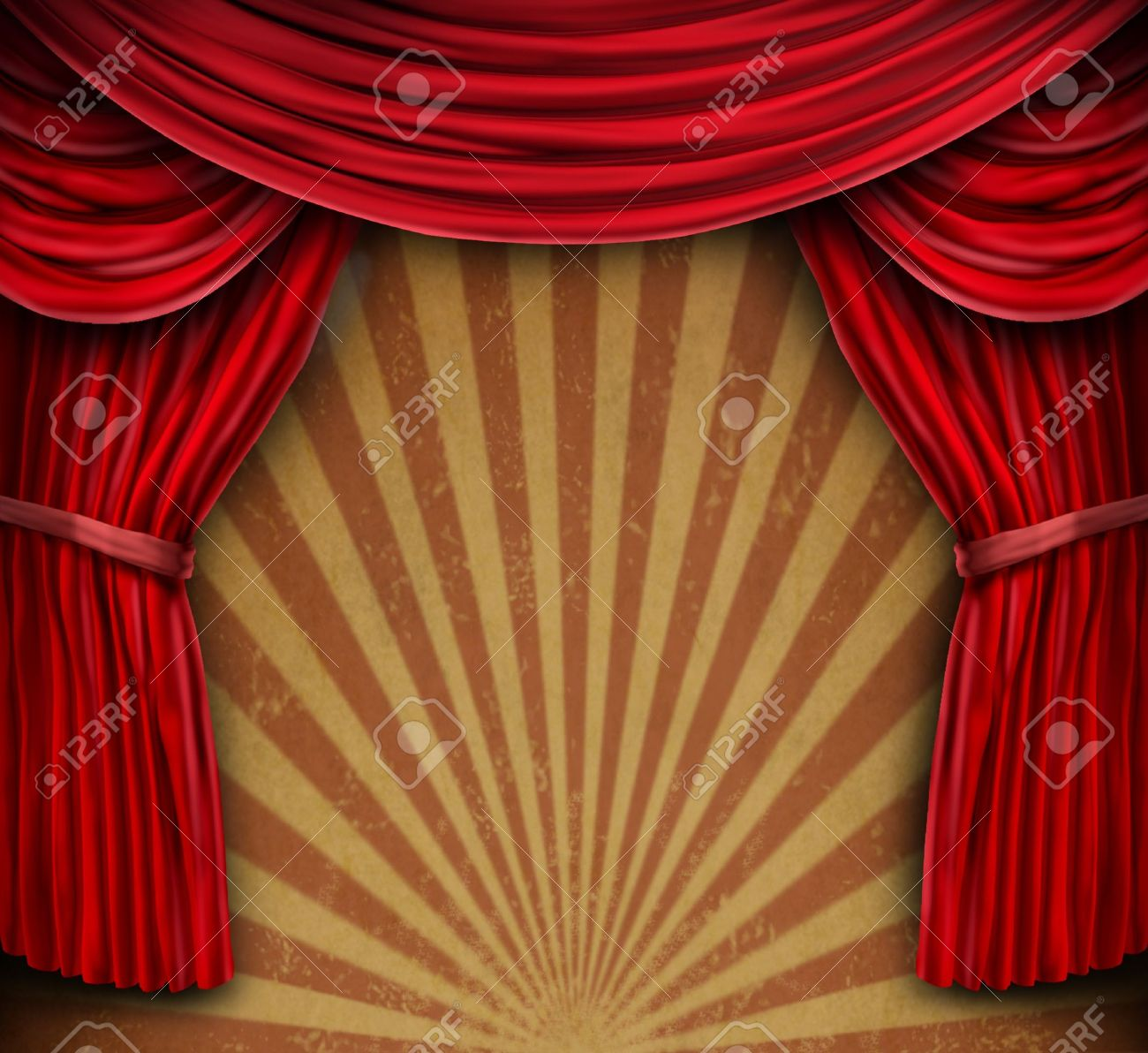 Red Velvet Curtains Or Drapes On An Old Grunge Wall With A Radial Sun Burst Design
