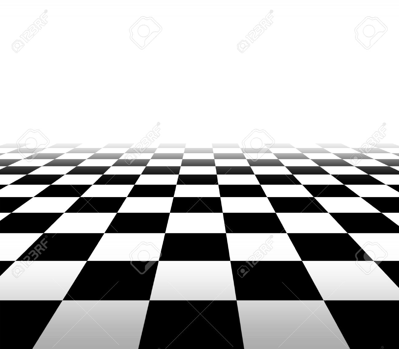 Checkered background floor pattern in perspective with a black and white geometric design fading to white in the distance with a blank area for your text Stock Photo - 13203550