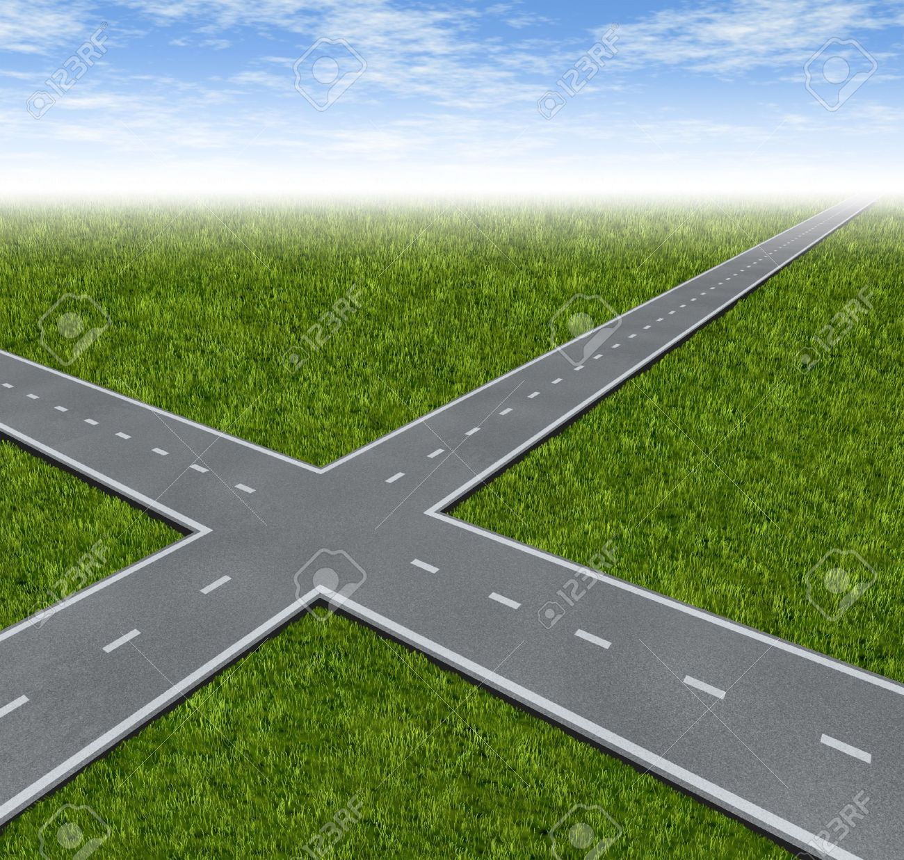Crossroad Decision Dilemma with two roads crossing as a business symbol of facing difficult financial choices deciding to choose the best path to success and wealth on a green grass summer landscape with a sky Stock Photo - 13203567