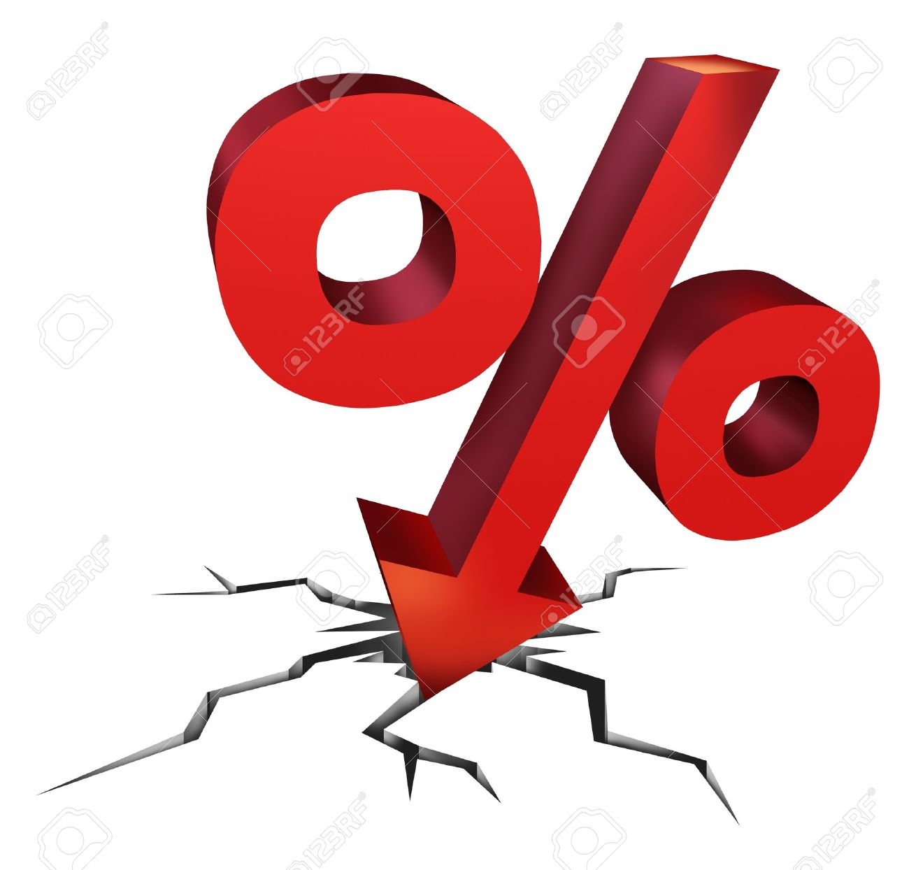 Falling Interest Rates As A Red Percentage Sign As A Symbol Of An