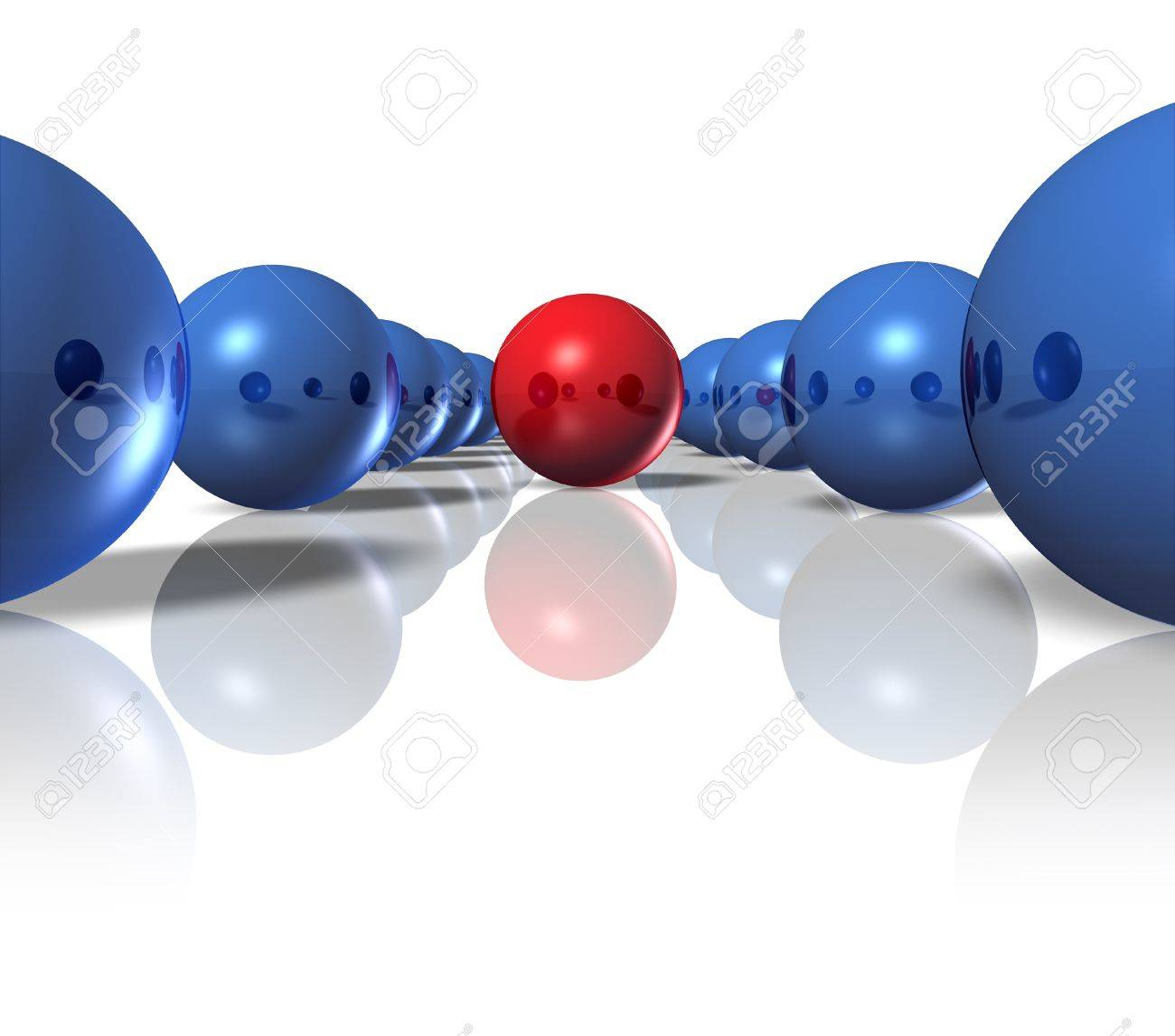 Leader and power leadership concept with blue spheres as followers and a single red ball as the guide and authority to deliver a winning plan and business strategy for team success on a white background Stock Photo - 13203553