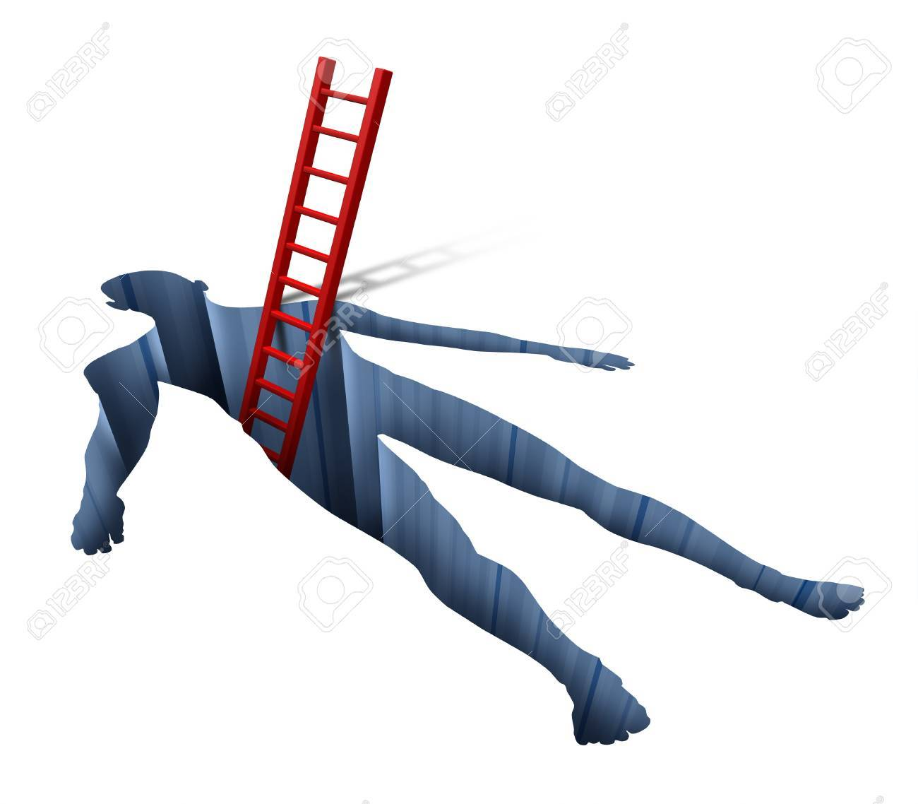 Medical exam and diagnosis with a human body shape hole and a red ladder searching inside as a health care concept for patient care finding a cure with invasive surgery of inner organs by a hospital doctor on a white background Stock Photo - 13325449