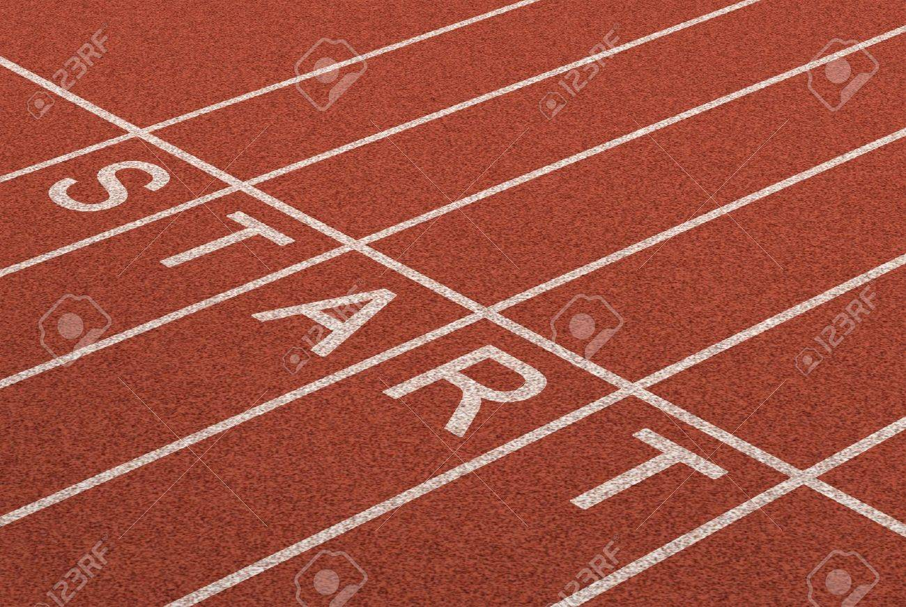 Starting line as a business symbol of the metaphore saying ready set go for the start or beginnings of a planned strategy for success as represented by a track and field stadium background as a concept of opportunity and setting goals Stock Photo - 13419666