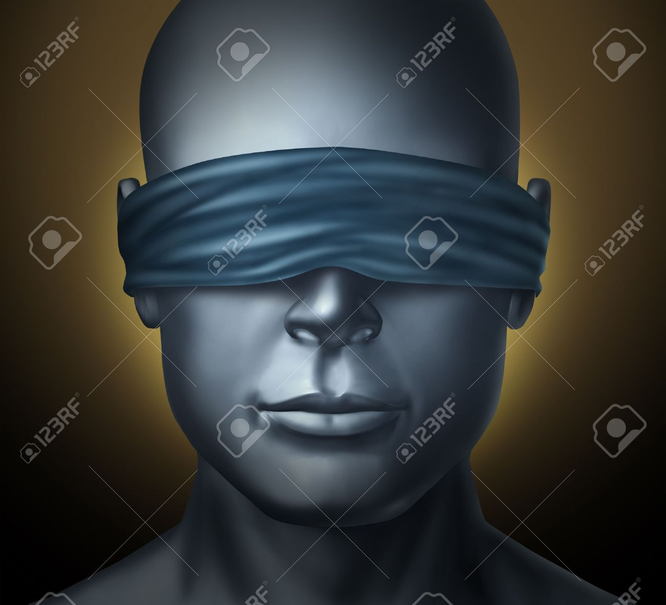 Blindfolded Concept With A Human Head With A Blindfold As A Symbol Of Honesty And Being A Neutral Judge With Trust And Blind Justice Or Living With Solitude