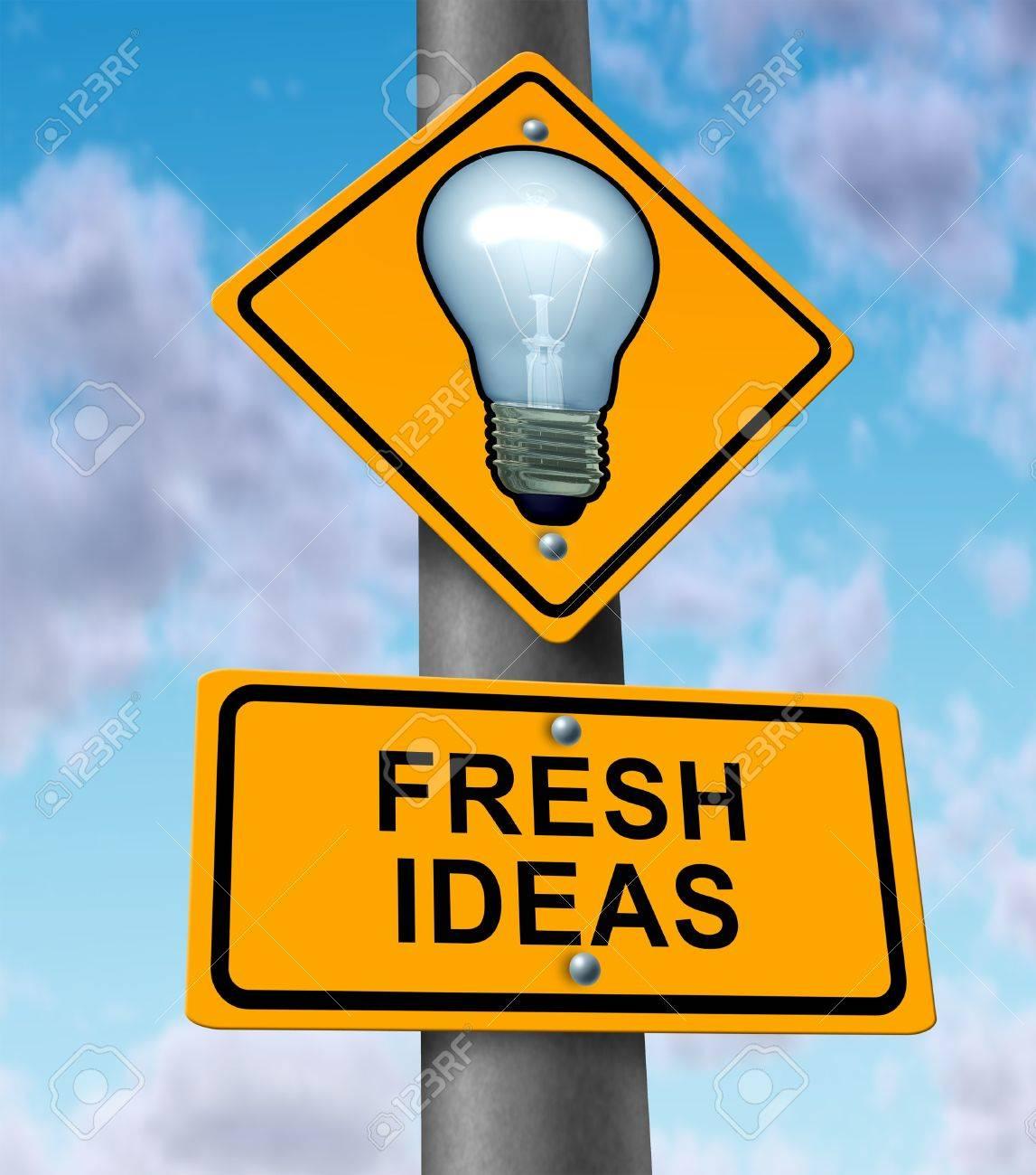 Frische Ideen Und Neue Innovative Lösungen Symbol Mit Einem Straßen