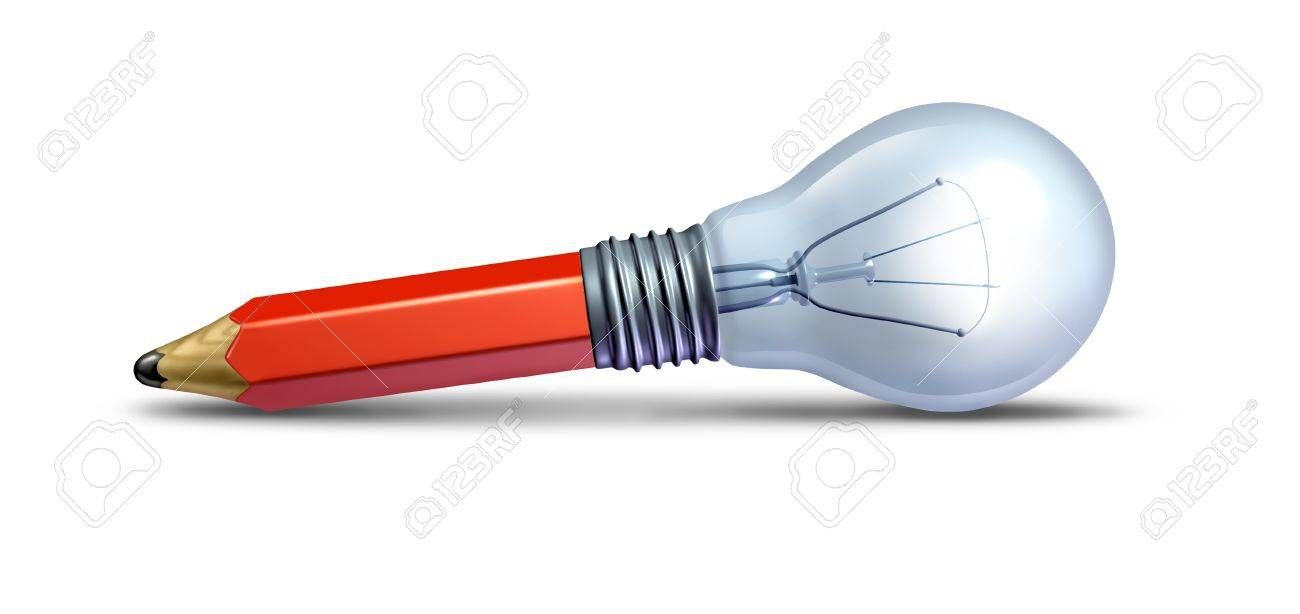 Imagine and create concept for design and innovation as a creative ideas icon with a red pencil and a lightbulb on the floor combined together as a symbol of creativity for the arts or for a new business invention idea Stock Photo - 13523368