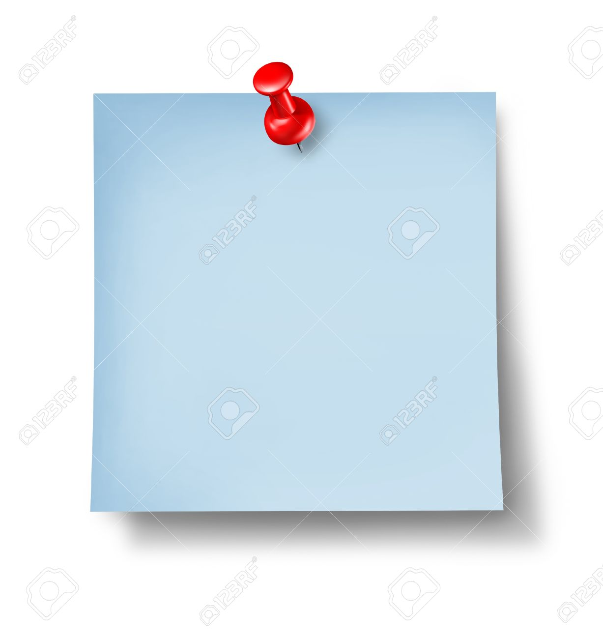 blank blue office note or sticky paper a red thumb tack blank blue office note or sticky paper a red thumb tack on a white background